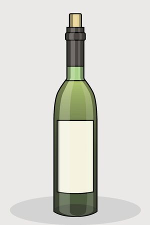 Detailed wine bottle icon with outline. Stock Illustratie
