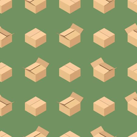 Seamless pattern with open and closed cardboard boxes. Stock Illustratie