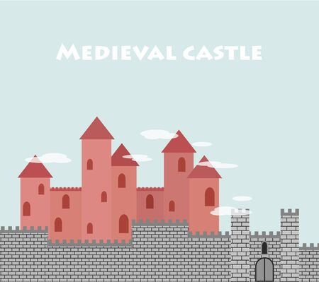 Medieval castle with a fortress wall and towers