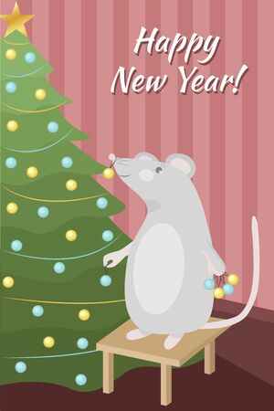 Cute Christmas card with a mouse that decorates the Christmas tree. Happy New Year.