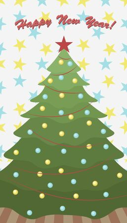 Cute christmas card with christmas tree. Happy new year