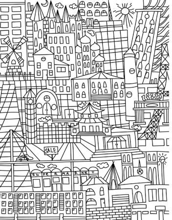 Black an white doodle with houses of different cultures and attractions. Line art. Stock Illustratie