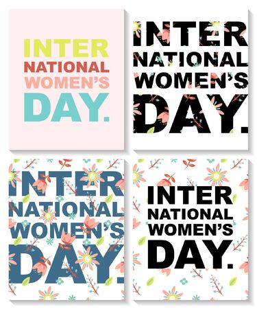 Set of postcards with a floral pattern for International Women's day. The eighth of March.