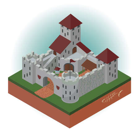Medieval castle with towers and gates in an isometric projection. Vector illustration.
