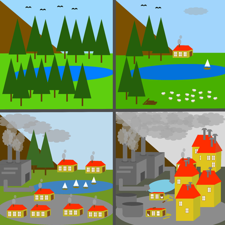 industrialization: Landscape changes with industrialization: from wilderness to heavy industrialization Illustration