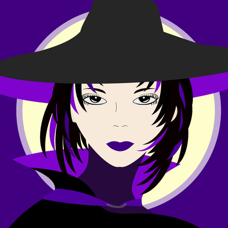 wizardry: A beautiful witch with black and purple hat and cloak. Full moon in the background.