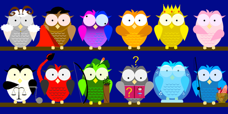 One owl for twelve zodiac signs