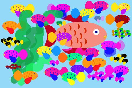 Un acquario affollato di troppi pesci colorati con una grande pesci rossi e molti piccoli pesci tropicali
