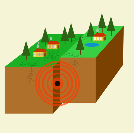 ruined house: Earthquake: seismic waves. Illustration