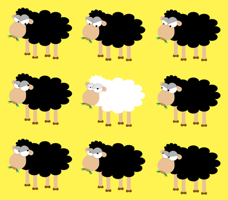 dishonest: A white sheep between many black sheep Illustration