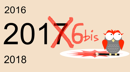 2017 or 2016 bis?! An Italian superstition: number 17 is an unlucky number Illustration