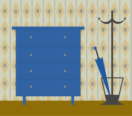 navy blue: A navy blue chest of drawers with a coat rack