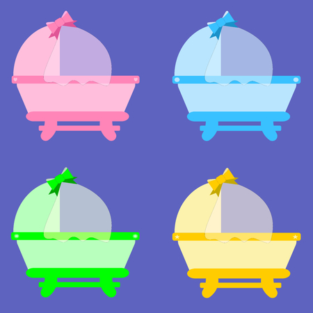 Cradles: pink, blue, green and yellow Illustration
