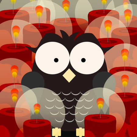 An owl between red candles Vetores