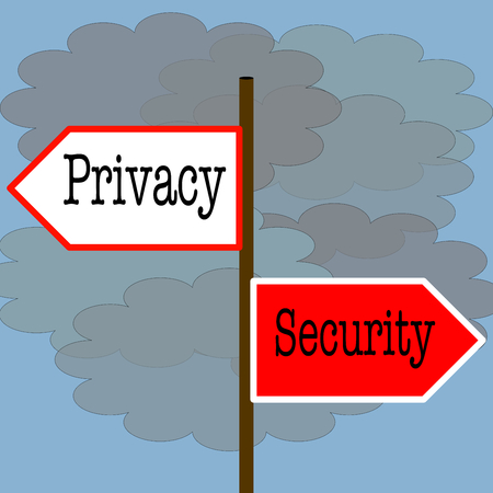 different directions: Privacy vs security: road sign point at different directions