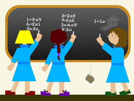 dyslexia: Child at school with learning disability (dyscalculia) attend to a math lesson Illustration