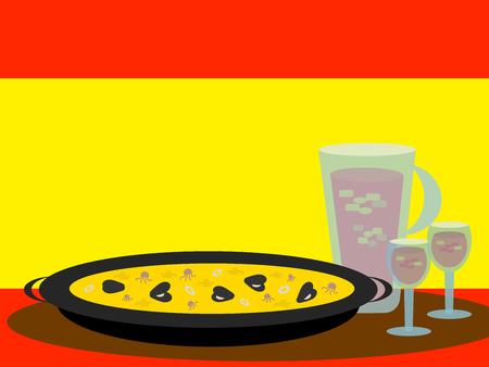 Paella and Sangria: typical Spanish food with flag of Spain in the background.