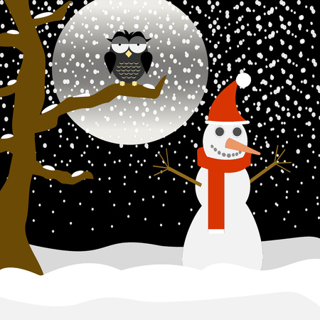 ironic: An owl in the night under cold snow and a snowman with warm scarf and hat. Illustration