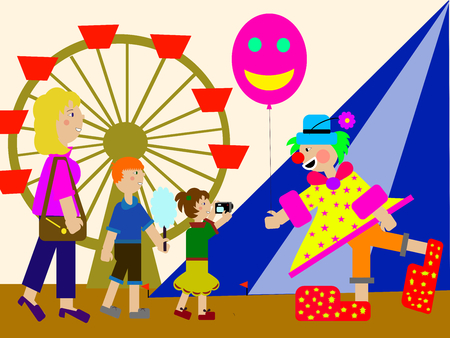 prankster: A family (a mother and her children) meets a clown at the amusement park