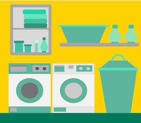 A green and yellow laundry room