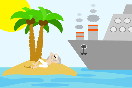 A man enjoys his solitude in a desert island while a big boat is coming Illustration