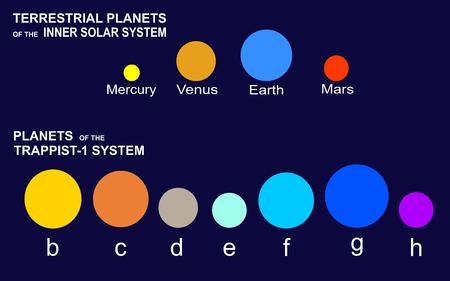 Planeten des Inneren Sonnensystems (Quecksilber, Venus, Erde, Mars) und die sieben Planeten von TRAPPIST-1 der Konstellation des Wassermanns (b, c, d, e, f, g, h) Vektorgrafik