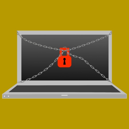 controversy: Privacy and security: computer with a red lock and a chain