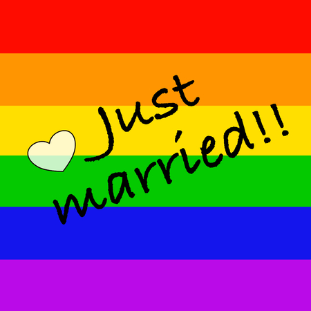 "civil rights: ""Just married"" on rainbow flag"