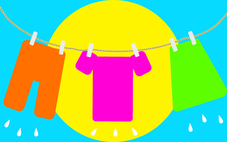 Colored laundry hang out
