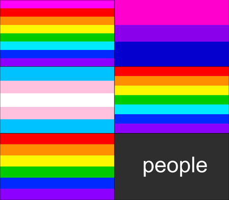 civil rights: Gay pride flags: rainbow, bisexual and transsexual