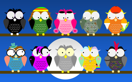 satirical: Young subcultures owls watch a grey one.