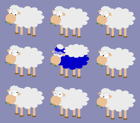 disguised: A blue sheep disguised with a grey wool among grey sheep: I dont want to be myself! Illustration