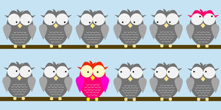 A pink owl is fixed from grey owls but one owl looks around because has some pink plumes: be different! Imagens - 77491703