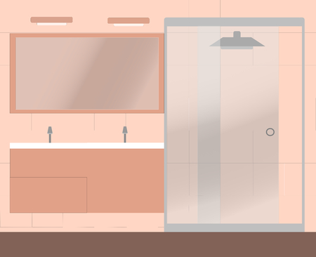 bathroom mirror: A pale pink bathroom with a big shower and two sinks