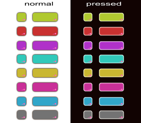 Set of web buttons: normal and pressed Ilustrace