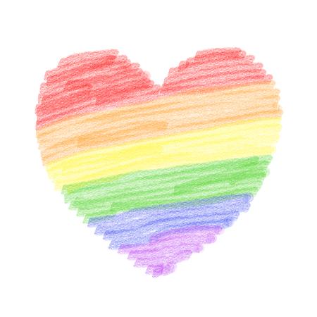 Rainbow heart, pencil style