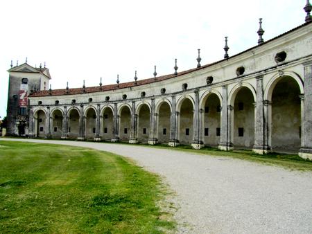 The ancient arcade of Villa Manin, Italy Stock Photo
