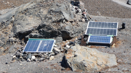 Solar panels to power the system of monitoring of the Santorini volcano, Greece
