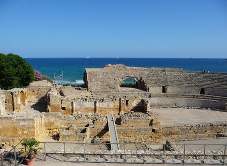The ancient Roman amphitheater of Tarragona, Spain Stock Photo