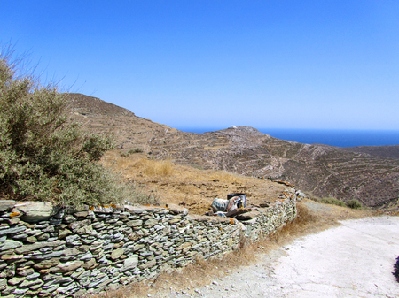 Countryside at Folegandros island, Greece Stock Photo