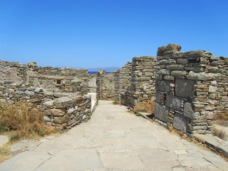 ortigia: Archaeological ruins in Delos island, Cyclades archipelago, Greece.