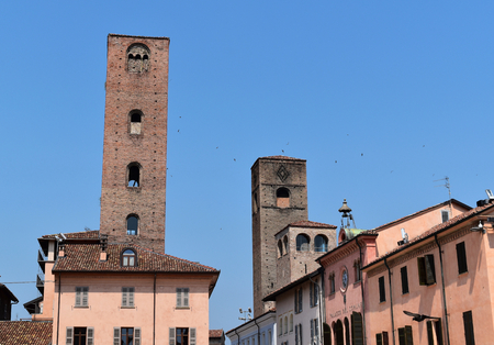 The three towers of Risorgimento Square in Alba, Italy Stock Photo