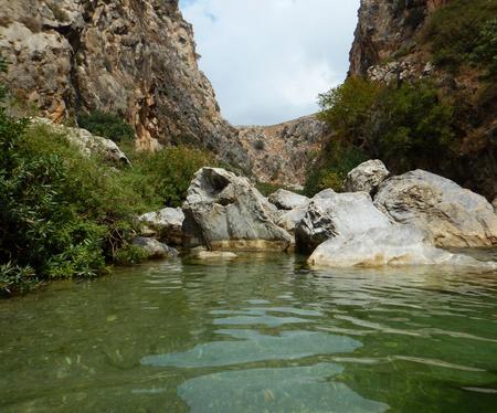 Preveli Lagoon with palms, Crete, Greece