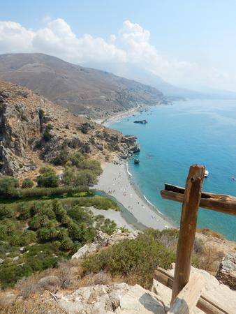 View of the Preveli Lagoon with palms, Crete, Greece
