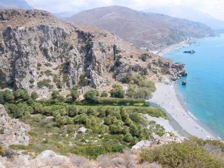 Preveli Beach with palms, Crete, Greece
