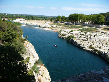 The Gard river seen from the ancient Roman aqueduct, France