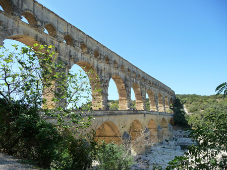 The Pont du Gard, France: an ancient aqueduct with many arch. Stock Photo