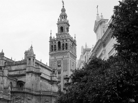 Seville Cathedral, Spain. Black and white.