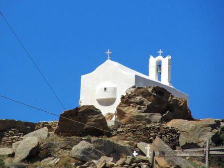 A white Greek Orthodox Church in Cyclades island
