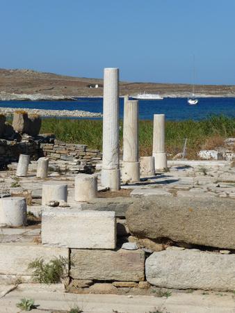 Ruins of a white temple in Delos island, Cyclades archipelago, Greece.
